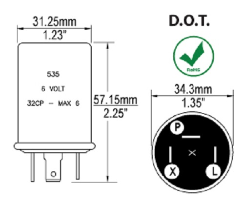 3-prong thermal turn signal flasher relay 6 volt 12a ... 6 volt turn signal wiring diagram